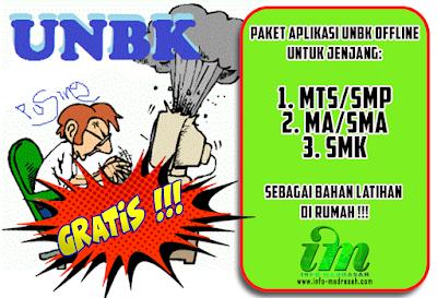 Aplikasi UNBK Offline MTs/SMP dan MA/SMA/SMK - Penyelenggaraan UNBK pertama kali dilaksanakan pada tahun 2014 secara online. Hal ini dibuat karena untuk meminimalisir kecurangan terhadap pelaksanaan Ujian Nasional. Dan UNBK telah makin berkembang dan hampir sudah menyeluruh ke seluruh Sekolah di Indonesia, dari mulai jenjang MTs/SMP dan MA/SMA/SMK. Namun terkadang dengan UNBK ini banyak kendala-kendala yang harus dihadapi, mungkin tepatnya masih terdapat kekurangan dalam pelaksanaan UNBK ini.    Apa itu UNBK ?   Pengertian UNBK adalah sebuah sistem ujian nasional dimana dalam pelaksanaannya menggunakan media komputer. Sistem ini dalam bahasa inggris disebut juga dengan CBT atau Computer Based Test. Ujian Nasional Berbasis Komputer ini berbeda dengan Paper Based Test atau sistem ujian nasional berbasis kertas.    Apa Fungsi Dan Tujuan UNBK?   Dikutip dari www.utopicomputers.com (28/02/2019), Pemerintah mengadakan program UNBK bertujuan untuk meningkatkan kualitas pendidikan utamanya untuk program ujian nasional, adanya sistem yang terintegrasi langsung dengan aplikasi - aplikasi pendidikan lainnya seperti DAPODIK, E-Raport dan lain sebagainya akan mempermudah sekolah untuk melakukan pelaksanaan kegiatan ujian nasional. Akan tetapi butuh sumber daya lebih agar bisa melaksanakan kegiatan UNBK dengan lancar utamanya dari sisi sumber daya manusia dan juga perangkat pendukung ( Komputer ).    Fungsi UNBK yang lain yaitu dapat meredam banyak kecurangan dalam pelaksanaan Ujian Nasional, sehingga akan mempu untuk menumbuhkan minat belajar dikalangan siswa. Hal ini dikarenakan siswa tidak lagi mengandalkan bocoran kunci jawaban pada saat mengikuti ujian nasional, sehingga mau tidak mau mereka akan berusaha untuk dapat lulus dalam ujian nasional yang dihadapi.     Sebagai bahan persiapan untuk menghadapi UNBK berikut ini kami bagikan aplikasi UNBK untuk SMP, SMA dan SMK versi offline. Jadi, kamu bisa berlatih menjawab soal UNBK meskipun tanpa terkoneksi dengan jaringan interne