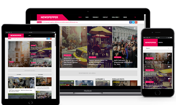 FBtemplates create NewsPepper Responsive Magazine Blogger Theme, especially focus on news or newspaper website/blogs that it comes with three different styles
