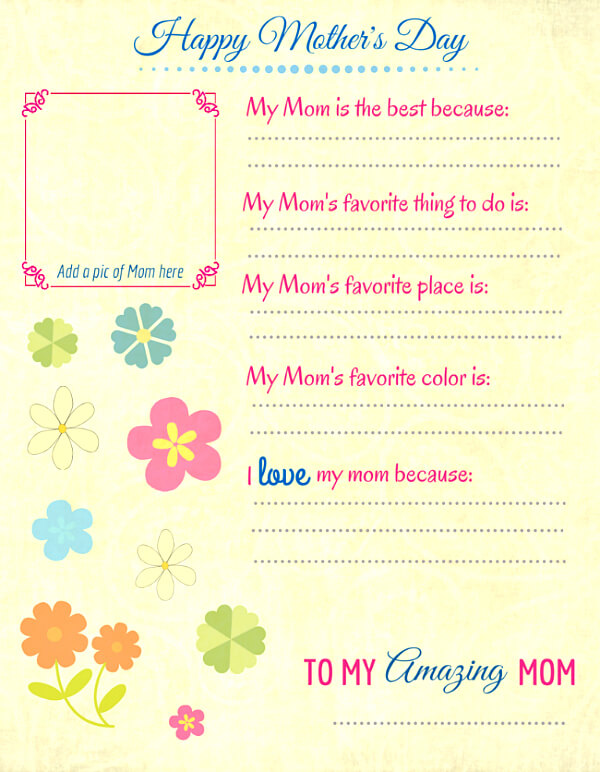 This Free Printable Is Perfect For Little Kids To Dictate Their Answers, Or  For Older Kids To Fill Out Themselves. Thereu0027s Also A Spot For A Picture Of  Mom, ...
