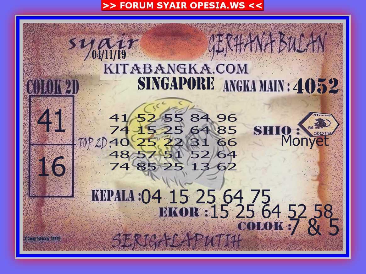 Kode syair Singapore Senin 4 November 2019 111