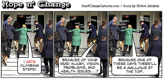 obama, obama jokes, political, humor, cartoon, conservative, hope n' change, hope and change, stilton jarlsberg, hillary, health, stairs, diazepam, epilepsy, huma, confused