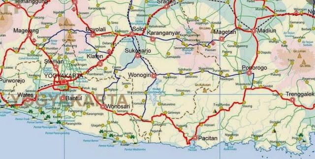rute dan peta perjalanan yogyakarta pacitan