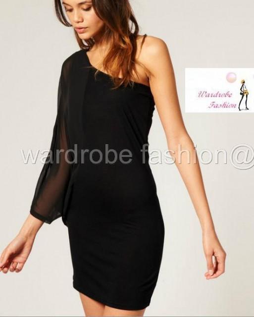 2ceb1f9341f2 ASOS /Vero Moda Chiffon One Sleeve Dress Black M UK 12 EU 40 US 8 ...