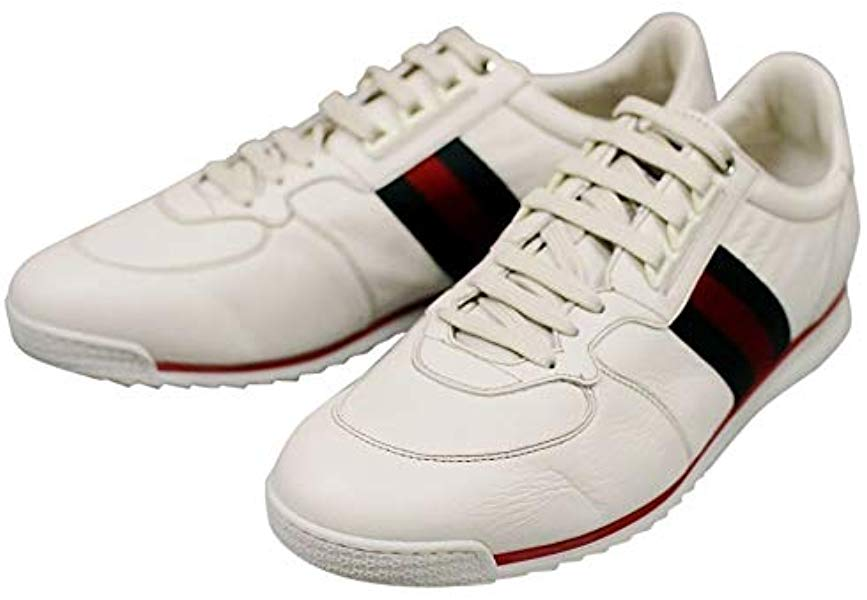 6f7f1996a5604 G Detail Gucci White Leather Mens Running Shoes Lace Up ...