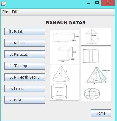 Aplikasi Menghitung Bangun Ruang JavaNetbeans