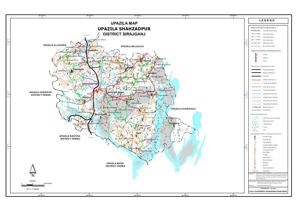Shahjadpur Upazila Map Sirajganj District Bangladesh