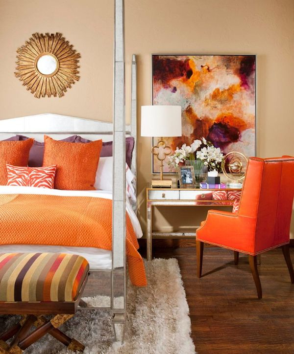 Terrific Purple And Orange Bedroom Decor