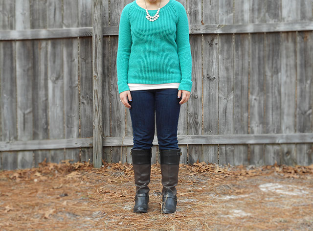 shamrock green sweater rose quartz tee dark denim jeans rose quartz jewelry two toned riding boots outfit casual