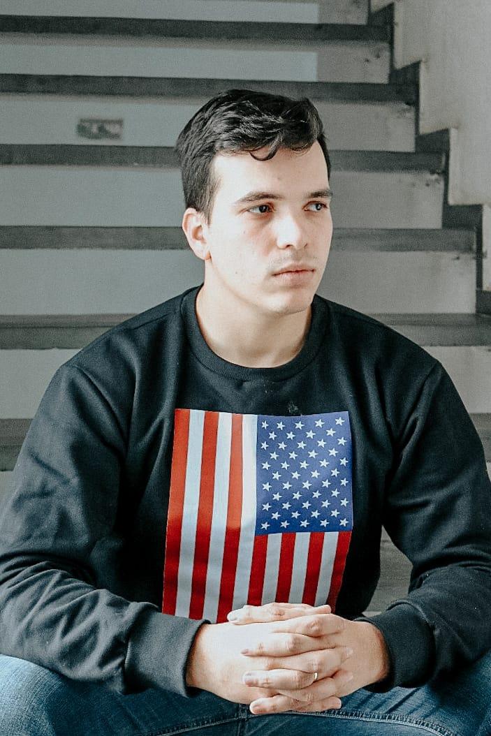 Look Masculino Despojado | Bandeira dos EUA confortável moletom