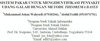 SISTEM PAKAR UNTUK MENGIDENTIFIKASI PENYAKIT UDANG GALAH DENGAN METODE THEOREMA BAYES [PDF]