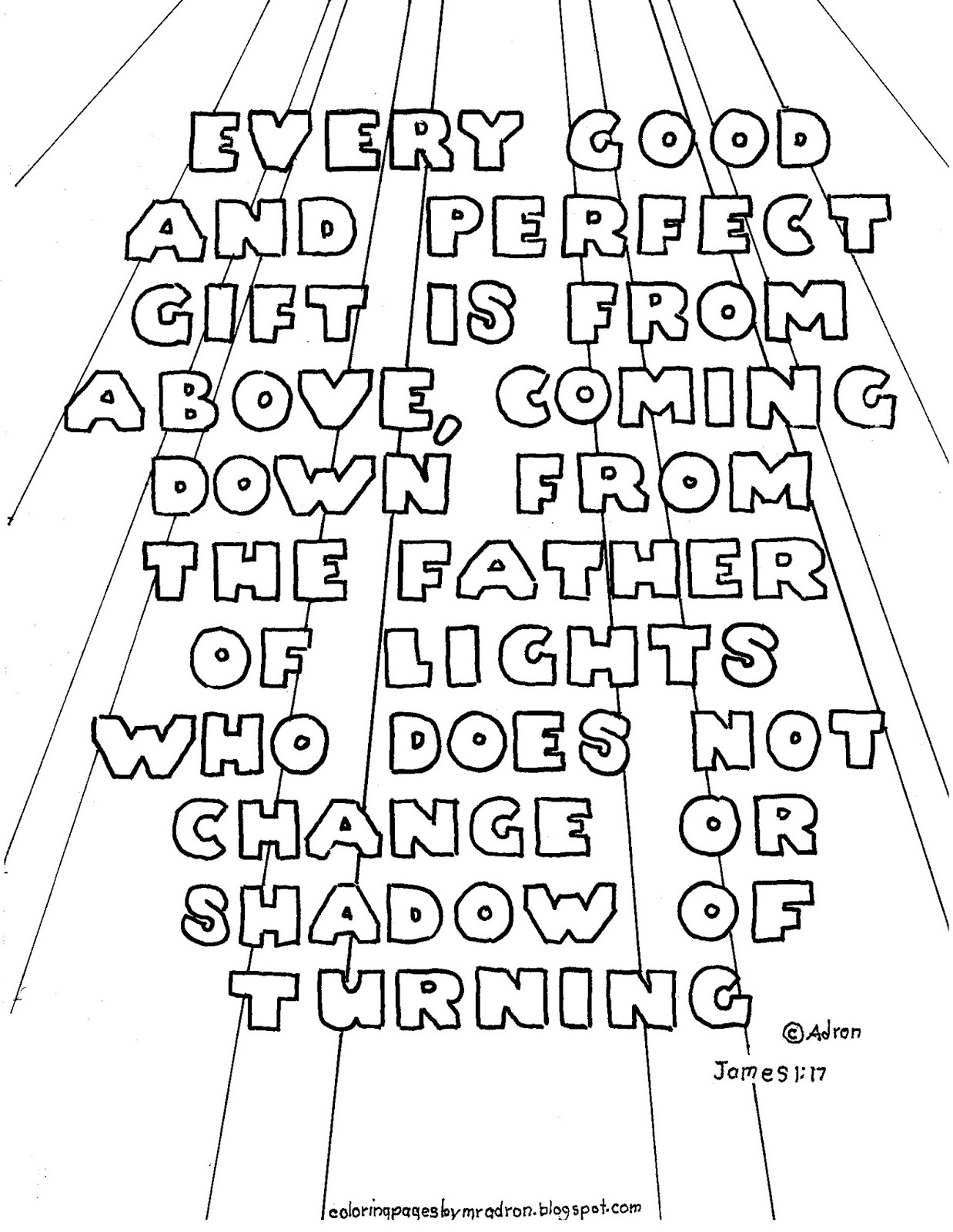 Coloring Pages For Kids By Mr Adron Printable Bible Verse Coloring Page James 1 17 Every Good