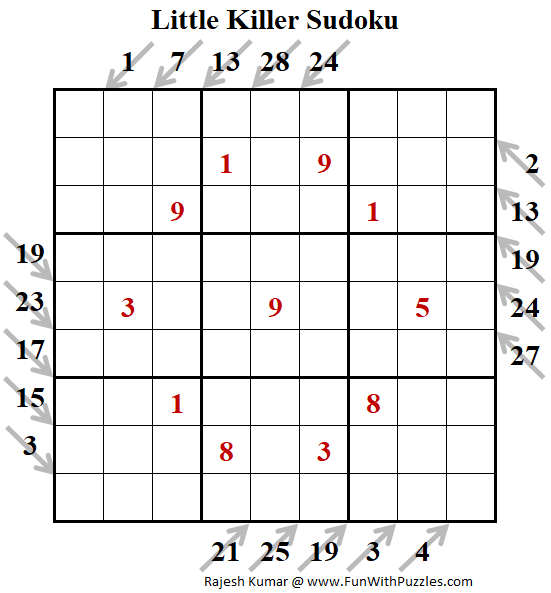 Little Killer Sudoku Puzzle (Fun With Sudoku #270)