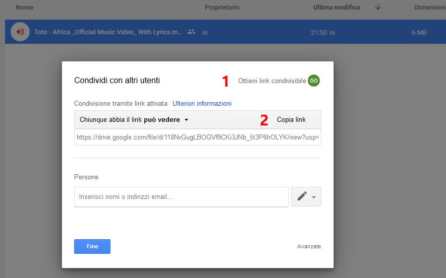 Link condivisione file audio Google Drive