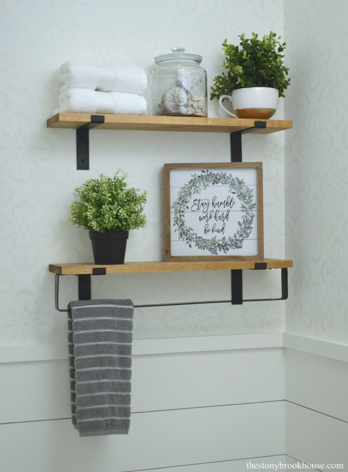 Powder Room Makeover Shelves