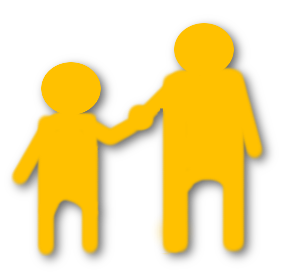Figures of a large person holding a smaller person's hand