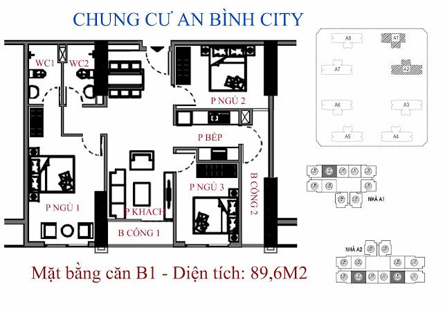 mặt bằng căn hộ b1 - Diện tích 89,6m2