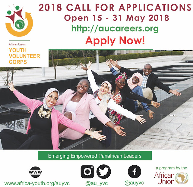 Dc8llJ_X0AEqs7F CALL FOR APPLICATIONS : AFRICAN UNION YOUTH VOLUNTEER CORPS 2018