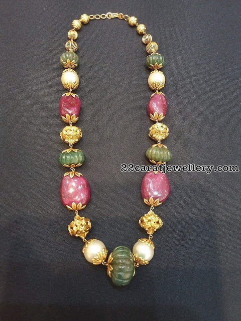 Simple Ruby Emerald Beads Sets