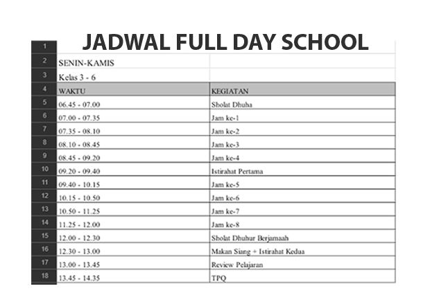 Download Jadwal Full Day School 2017