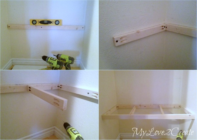 MyLove2Create, Hall Closet Makeover, how to build a support for a floating bench