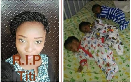Woman Who Waited for 3 Years to Have a Child, Dies After Giving Birth to Triplets in Lagos (Photos)