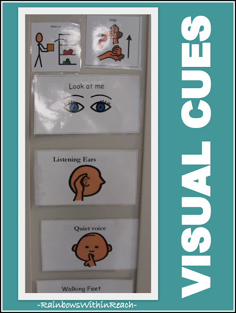 photo of: Visual support 'pictograms' for expected behavior at school