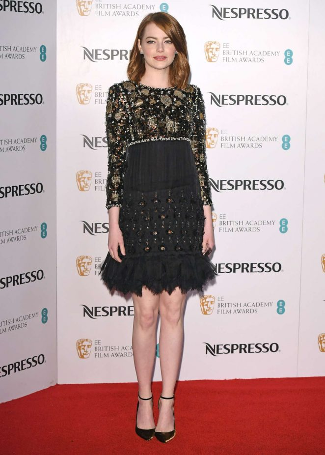 Emma Stone wears glitzy sequinned dress to the BAFTA Nespresso Nominees Party in London