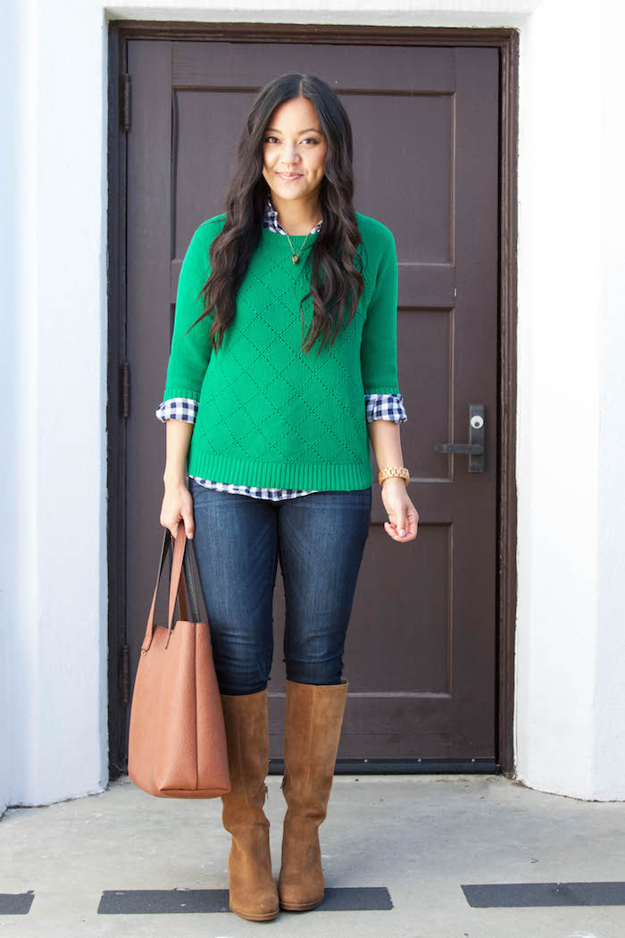 Green Sweater + Gingham Button up + Skinnies + Riding Boots + Brown Tote