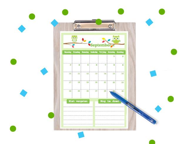 kalenders voor kinderen, aftelkalenders, vrolijke kalenders, kalender voor september, september 2018 kalender, maandkalender, kalender om te printen, download kalender, gratis kalender, gratis printable, luiaards printable, vliegtuig printable, cactus printable, uiltjes kalender, kalender met uiltjes