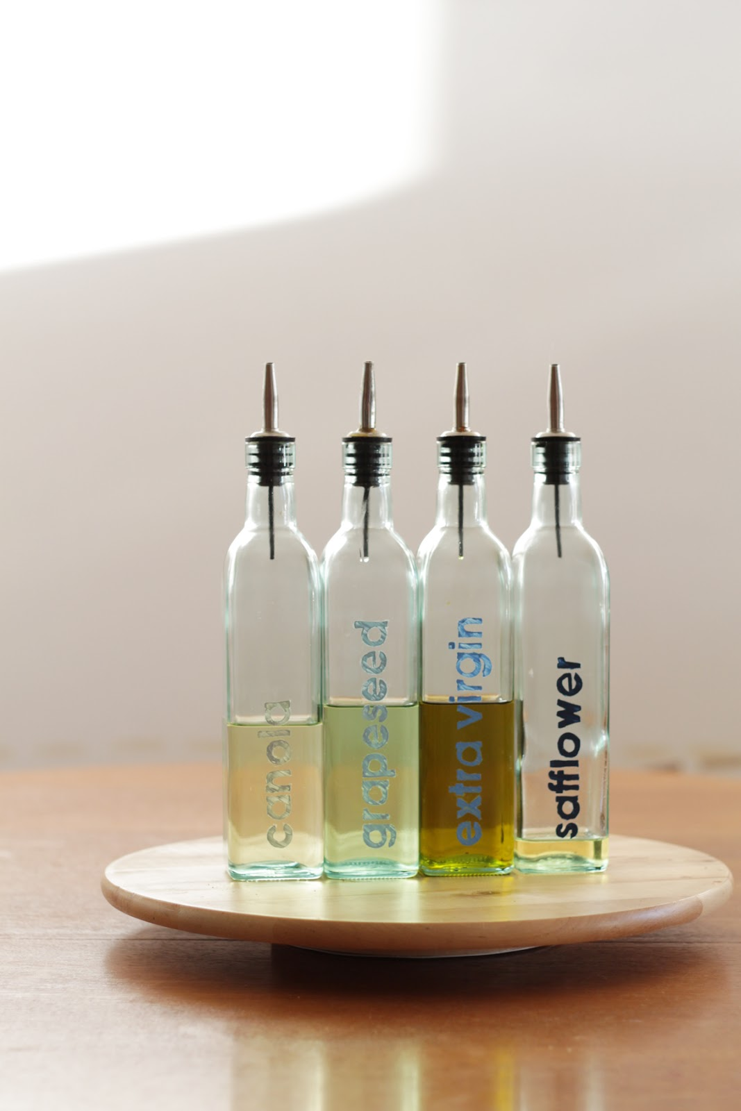 Craft: Stencil Labeled Oil Bottles