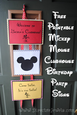 Mickey Mouse Party | Mickey Mouse Clubhouse Birthday Party Decorations | Free Printable Mickey Mouse Party Signs | more Mickey Mouse party ideas at directorjewels.com