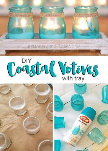 Aqua Sea Glass Spray Paint Candle Holder Idea
