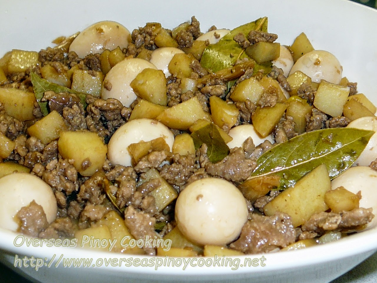 Ground Pork Adobo with Quail Eggs