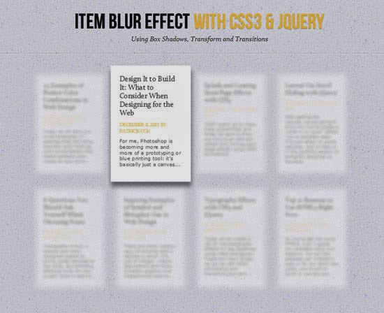 Item Blur Effect with CSS3 and jQuery