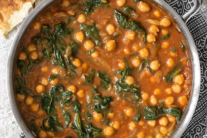 Curried Chickpeas with Spinach Recipe