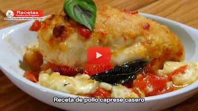 Receta de pollo caprese casero (Vídeo), fácil y rápida receta de pollo caprese, este  plato es delicioso y lo puedes preparar con unos pocos ingredientes.