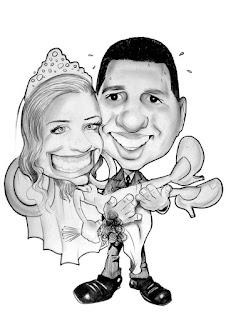 caricatura de noivos para impressão de adesivos