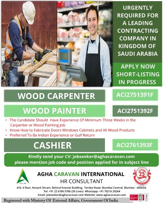 Urgently required for a leading contracting Company in Saudi Arabia