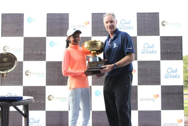Winner - Pranavi Urs with Head of School at Canadian International, Shane Kells