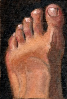 Oil painting of a bare left foot with a tan line running across it, viewed from above.