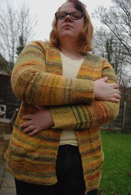 Handspun Tincanknits Harvest Cardigan sleeves
