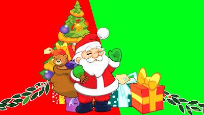 HD wallpaper met kerstman en pakjes onder de boom.