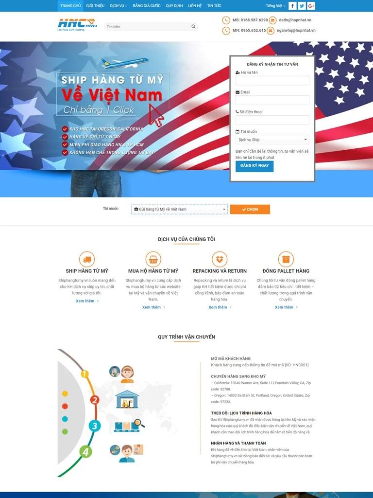 Landing Page giới thiệu công ty chuyển phát, ship hàng
