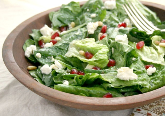 Pomegranate and Feta Salad with Maple Dijon Dressing