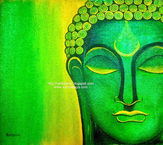 Buddha Painting - Green Abstract