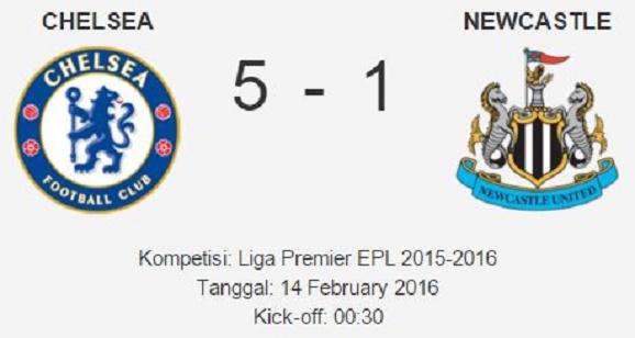 Hasil Kompetisi Kesebelasan Chelsea vs Newcastle : Score 5-1  Liga Premier EPL