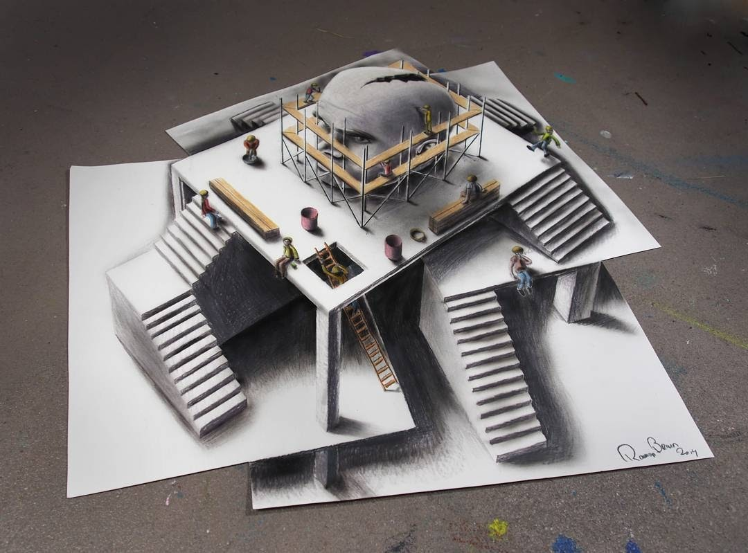 13-Sculpture-Under-Construction-Ramon-Bruin-Optical-Illusions-in-3D-Drawings-www-designstack-co