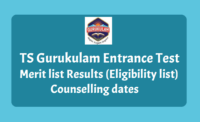 TS Gurukulam Entrance Test Merit list Results, Counselling dates