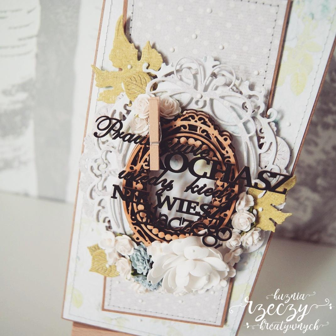 Ręcznie robiona kartka ślubna.