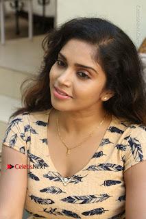 Telugu Actress Karunya Chowdary Stills in Short Dress at ATM Not Working Press Meet  0124.jpg